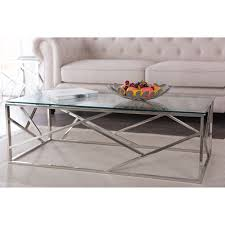 Contemporary Glass Top Coffee Tables Baxton Studio Fiona Modern And Contemporary Stainless Steel Coffee