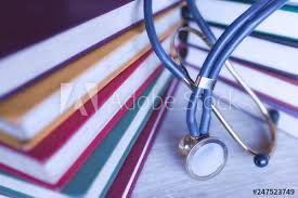 <b>Medical</b> student <b>multicolor</b> textbook and <b>stethoscope</b>. Collection of ...