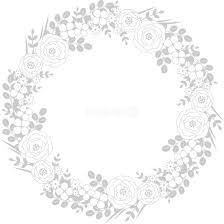 清楚な花と芽吹きの葉 おしゃれ 正円 丸 フレーム枠イラスト無料フリー