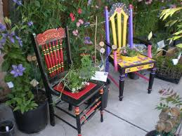 unique painted chairs for your garden outdoor wooden benches with regard to funky garden furniture