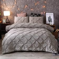 idouillet stylish cross pinch pleat design duvet cover and pillow shams set modern grey bedding double queen king size satin bedding cool duvet covers from