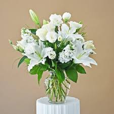 all white roses lilies stocks