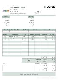 Simple Tax Invoice Sample With Tax Rate List