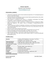 hadoop developer resume for experienced 1 lead professional summary i  certified java