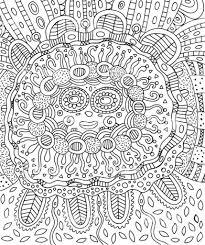 Maya Gezicht Doodle Kleurplaat Voor Volwassenen Met Maya