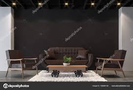 polished concrete floor loft. Modern Loft Living Room With Black And White 3d Rendering Image.There Are Polished Concrete Floor,black Wall Wood Ceiling Furnished Brown Floor