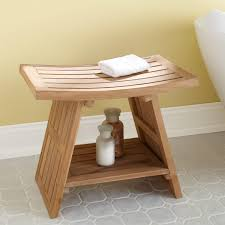 teak bathroom stools. Crafted Of Water-resistant, Durable Teak Wood, This Shower Seat Lends A Natural Look To Any Bath Setting.378867Signature Hardware Bathroom Stools .