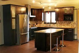 awesome maple espresso kitchen cabinet and small tile backsplash