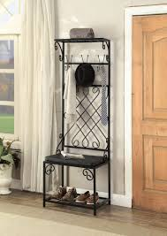 Metal Hall Tree Coat Rack Black Metal And Bonded Leather Scroll Design Entryway Shoe Bench 66