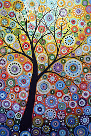 nature painting abstract original tree art painting sun arising by amy giacomelli