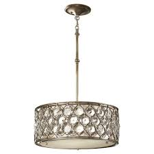w 3 light burnished silver pendant with linen drum shade