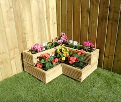 wooden corner planter outdoor garden 3
