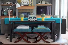 sofa table decor. How To Decorate Sofa Table Most Inspiring Design Resilient Black Stained Finish Narrow Rectangle Solid Wood Console Stools Underneath Feature Decor