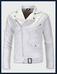 mens white motorcycle leather jacket
