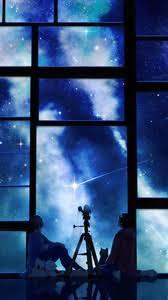 Perfect ... Anime, Sunset · Preview Wallpaper Tamagosho, Sky, Stars, Telescope,  Night, Window