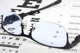 Lying Eye Chart Eye Glasses With Thin Frame Lying On Snellen Chart