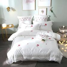 cute bedding sets queen cute luxury pink white red rose bedding set queen king size embroidery