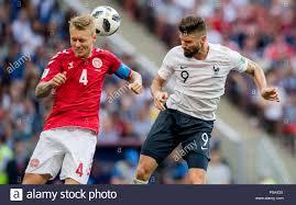 Olivier Giroud (Francia) versus Simon Kjaer (Danimarca) GES / Calcio /  Campionato del Mondo 2018 Russia - Danimarca - Francia,