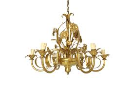 italian french gilt flower tole chandelier 1960 s photo