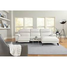 frost white leather match power reclining sofa with right arm facing chaise venice rc willey furniture