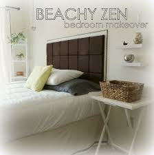 diy bedroom makeover. diy beachy zen bedroom makeover neutral pallette white cream brown black silver gray green faux bois diy