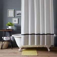 marvelous stripped shower curtains inspiration with stripe border shower curtain stone whiteplatinum west elm