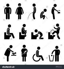 Toilet Bathroom Male Female Pregnant Handicap Stock Vektorgrafik