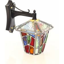 exterior lantern lighting. WINSFORD Square Leaded Stained Glass Outdoor Wall Lantern Exterior Lighting