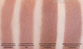 elf contour kit swatches. comparison of contour powder from mur protection palette light/medium, sleek makeup face form elf kit swatches p