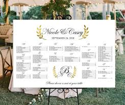 Wedding Seating Chart Printable Personalized White And Gold Gold Laurel Wreath Digital Wedding Or Birthday Party Seating Plan Poster Sizes