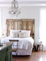 Romantic Rustic Bedroom Inspiring Upcycled Distressed Doors Finished For Headboard Rustic