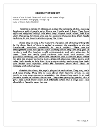 Example Of An Observation Essay Behavior Observation Report Essay Example Essay Sample