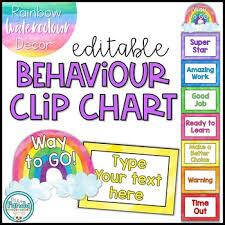 Behavior Clip Chart Editable Rainbow Watercolor Decor