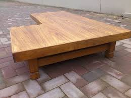 Furniture, Brown Low Ancient Solid Wood L Shaped Coffee Table Designs Ideas  As Living Room