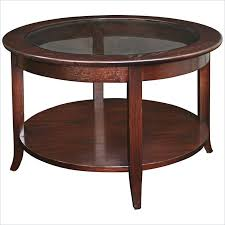 solid wood round glass top coffee table chocolate oak