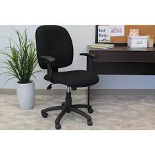 boss black fabric task chair with adjule arms