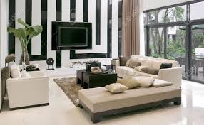 modern houselivingroom with the modern furniture stock photo