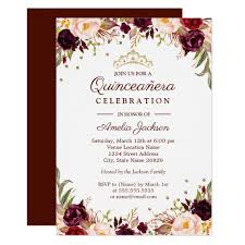 Quincenera Invitations Elegant Gold Burgundy Floral Quinceanera Invitation