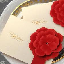 3d wedding cards red flower crystal customized printing wedding invitations cards customized personality printable wedding cards