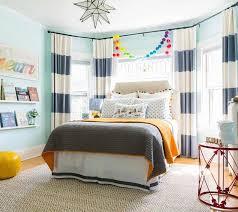 Boy Bedroom Bay Window with Cream Headboard