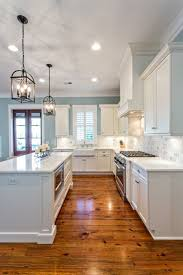love everything about this kitchen light cabinets counter tops a splash blue cabinet kitchen lighting