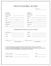 Bill Of Sale Document Template