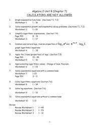 exciting algebra 2 unit 8 chapter 7 solving exponential equations without logarithms worksheet answers 008671814 1