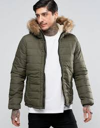 schott quilted padded hooded jacket detachable faux fur trim khaki men schott er jacket new arrival