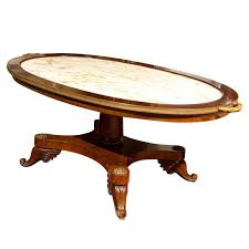 french mahogany marble top coffee table by jansen for