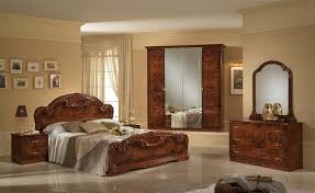 italian stylish high gloss walnut bedroom furniture set