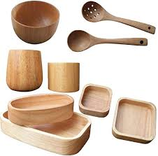 Cajolg Nine-Piece Solid Wood Round Bowl/Wood ... - Amazon.com
