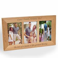personalised triple aperture landscape oak wooden frame