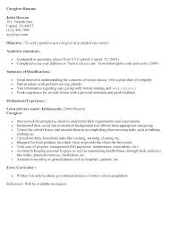Sample Resume Of Caregiver Nfcnbarroom Com