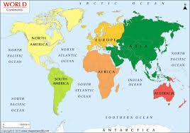 what are the  continents from biggest to smallest in world map